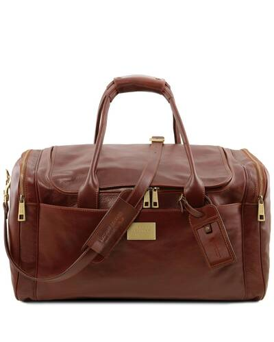 Tuscany Leather TL Voyager - Travel leather bag with side pockets - Large size, Brown - TL142135/1