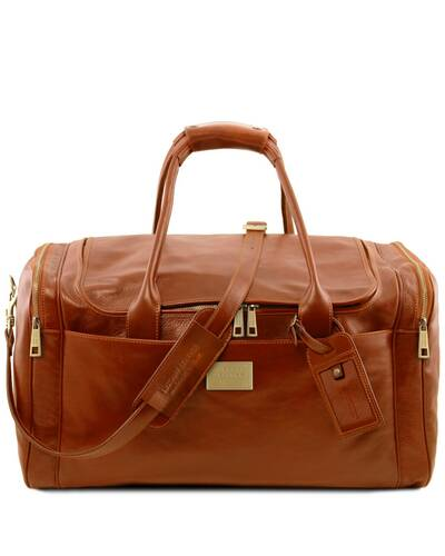 Tuscany Leather TL Voyager - Travel leather bag with side pockets - Large size, Honey - TL142135/3