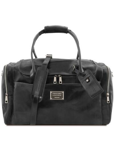 Tuscany Leather TL Voyager - Travel leather bag with side pockets, Black - TL142141/2