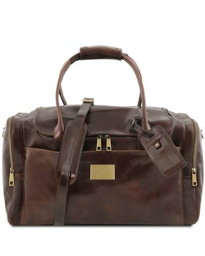 Tuscany Leather TL Voyager - Travel leather bag with side pockets, Dark Brown - TL142141/5