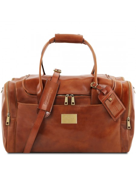 Tuscany Leather TL Voyager - Travel leather bag with side pockets, Honey - TL142141/3