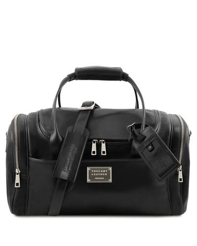 Tuscany Leather TL Voyager - Travel leather bag with side pockets - Small size, Black - TL142142/2