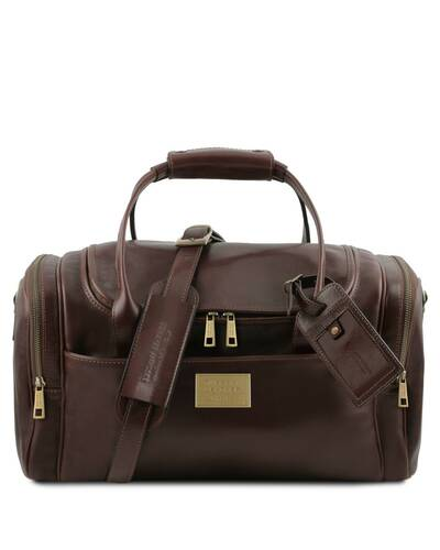 Tuscany Leather TL Voyager - Travel leather bag with side pockets - Small size, Dark Brown - TL142142/5