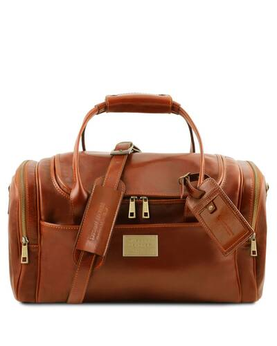 Tuscany Leather TL Voyager - Travel leather bag with side pockets - Small size, Honey - TL142142/3