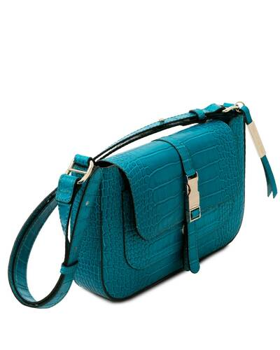 Tuscany Leather Noemi - Pochette in pelle stampa cocco Turchese - TL142065/102