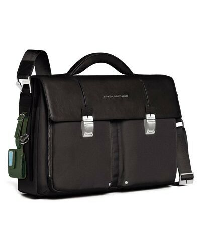 Piquadro Link organized computer briefcase with double iPad/iPad®Air and notebook compartment, Black - CA1044LK/N
